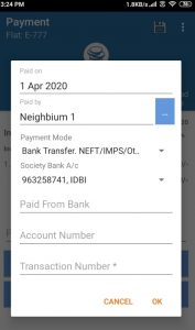 As a Resident, follow below steps to inform the management on your transaction: Open the Pending Payment Click on Already Paid and select NEFT/ Bank Transfer. Select the Paid on Date and enter the transaction number. Click on Ok. The management committee will verify the payment and approve it. You will get notification and email with the receipt after approval.
